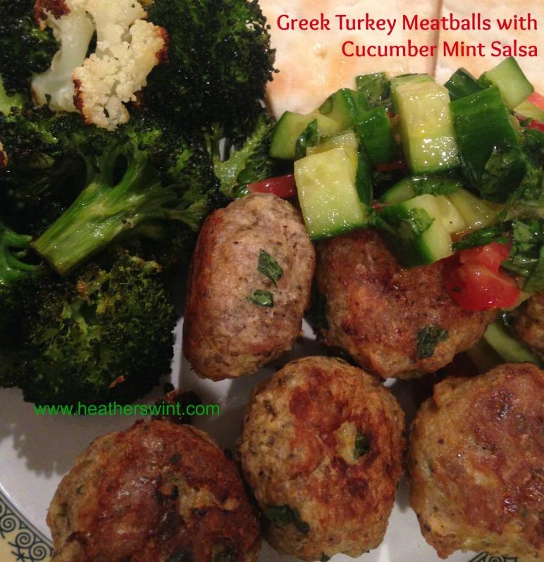 Greek Turkey Meatballs with Cucumber Mint Salsa | Heather Swint